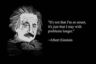 Atom Painting - Albert Einstein Quote 21 by Artist Singh