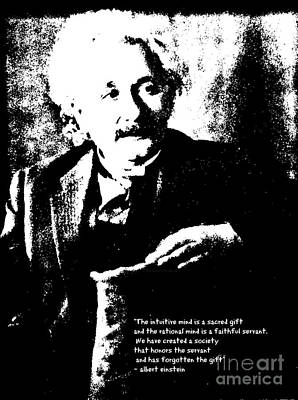 Albert Einstein Quote - Intuition - 1931 Litho Art Print by Padre Art