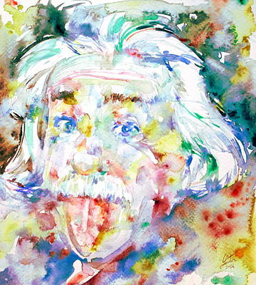 Theory Painting - Albert Einstein Watercolor Portrait.3 by Fabrizio Cassetta
