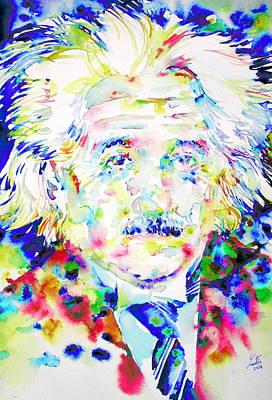 Albert Einstein Painting - Albert Einstein - Watercolor Portrait.4 by Fabrizio Cassetta
