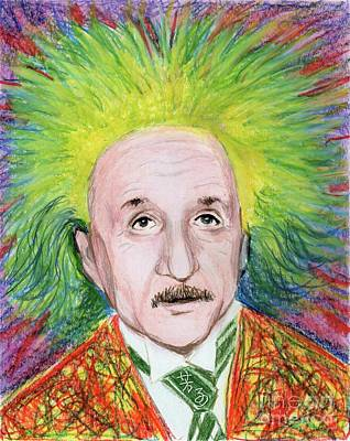Art Print featuring the drawing Albert Einstein by Yoshiko Mishina