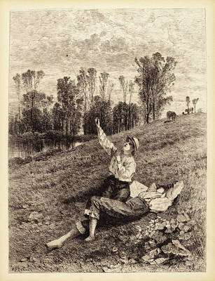 Kite Drawing - Albert Fitch Bellows, Untitled Boys Flying A Kite by Quint Lox