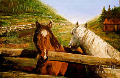 Painting - Alberta Horse Farm by Sher Nasser