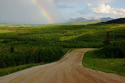 Photograph - Alberta Rockies Rainbow by Daniel Woodrum