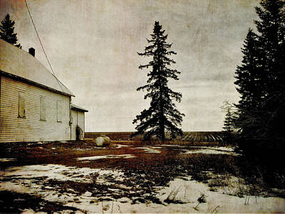 Schoolhouse Mixed Media - Alberta Schoolhouse by Janet Kearns