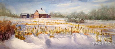 Snowy Day Painting - Alberta Winter Panorama by Mohamed Hirji
