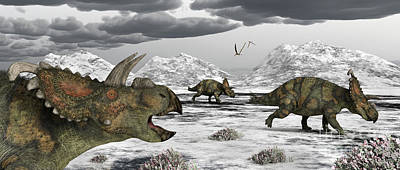 Albertaceratops During Their Winter Art Print