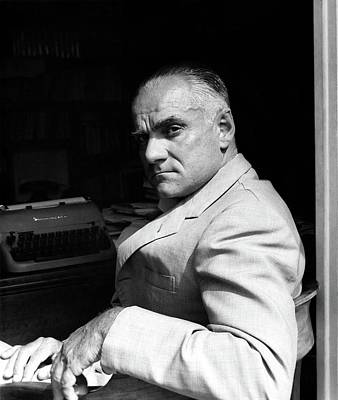 Desk Photograph - Alberto Moravia Sitting At His Desk by Horst P. Horst