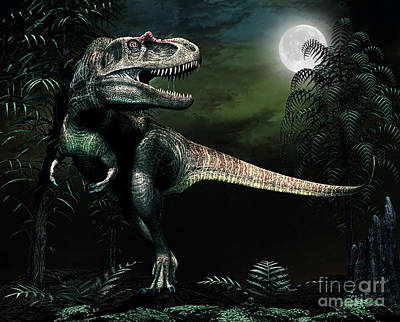 Anger Digital Art - Albertosaurus Hunts By Moonlight by Philip Brownlow