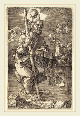Saint Christopher Drawing - Albrecht Dürer German, 1471-1528, Saint Christopher Facing by Litz Collection