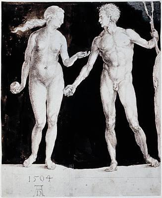 Drawing - Albrecht Durer Adam & Eve by Granger