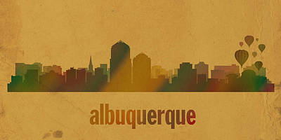 New Mexico Mixed Media - Albuquerque New Mexico City Skyline Watercolor On Parchment by Design Turnpike