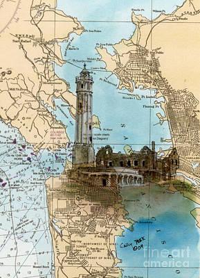 Alcatraz Painting - Alcatraz Island Lighthouse Ca Nautical Chart Map Art by Cathy Peek