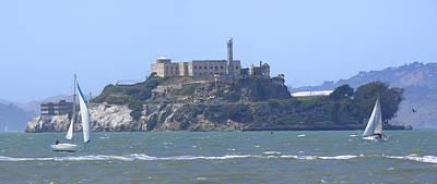Panoramic Digital Art - Alcatraz Island by Mike McGlothlen