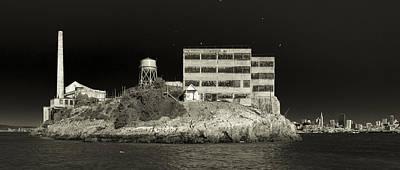 Photograph - Alcatraz The Rock Sepia 2 by Scott Campbell