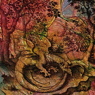 Seventeenth Century Digital Art - Alchemical Fire - Ouroborus by Richard Maier