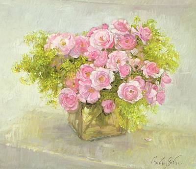 Floral Still Life Painting - Alchemilla And Roses by Timothy Easton