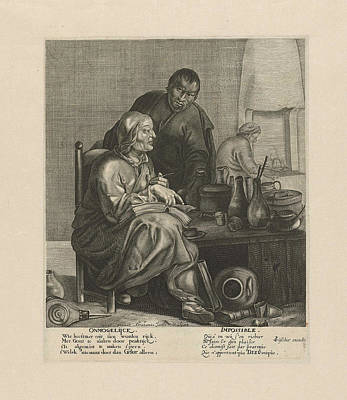 Alchemist Drawing - Alchemist, Abraham Jacobsz by Abraham Jacobsz. And Claes Jansz. Visscher (ii)