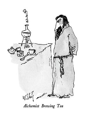 Alchemist Drawing - Alchemist Brewing Tea by William Steig