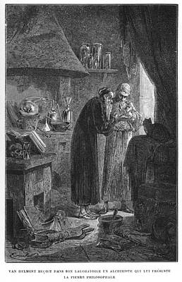 Philosophers Stone Drawing - Alchemist Van Helmont (1577- 1644) by Mary Evans Picture Library