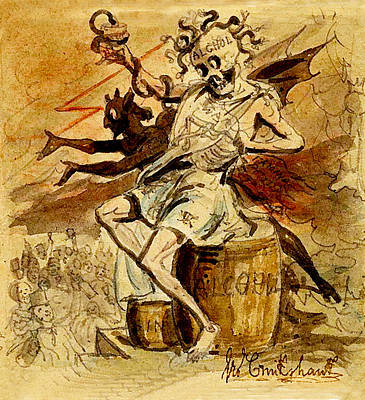 Alcohol Death And The Devil Print by George Cruikshank