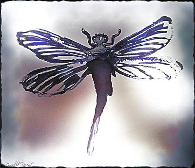 Libellule Painting - Alcohol Inks Purple Dragonfly by Danielle  Parent