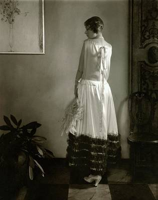 Alden Gay Wearing A Lanvin Dress Art Print