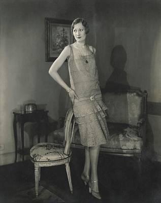 Alden Gay Wearing Lace Dress By Chanel Art Print