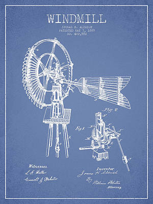 Aldrich Windmill Patent Drawing From 1889 - Light Blue Art Print