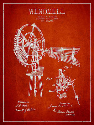 Digital Art - Aldrich Windmill Patent Drawing From 1889 - Red by Aged Pixel