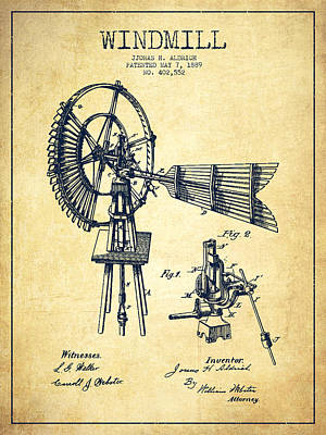 Digital Art - Aldrich Windmill Patent Drawing From 1889 - Vintage by Aged Pixel