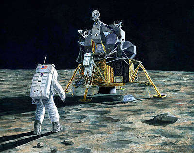 Painting - Aldrin Joins Armstrong by Douglas Castleman