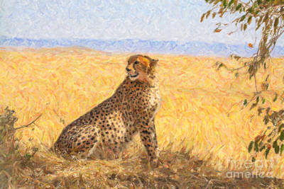 Animals Digital Art - Alert Cheetah Acinonyx Jubatus by Liz Leyden