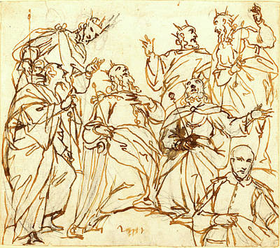 Alessandro Maganza, Italian 1556-1640, Six Kings And A Donor Print by Litz Collection
