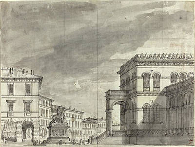 Wash Drawing - Alessandro Sanquirico Italian, 1780 - 1849 by Quint Lox