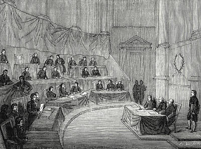 Alessandro Volta Reads Before The Academy Of Science Print by English School