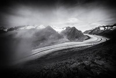 Glacier Photograph - Aletsch Glacier Swiss Alps Switzerland Black And White by Matthias Hauser