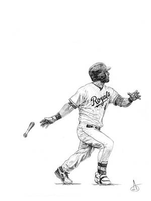 Kansas City Drawing - Alex Gordon by Joshua Sooter