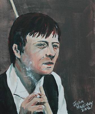 Snooker Painting - Alex Hurricane Higgins by John Halliday