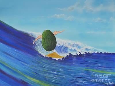 Alex The Surfing Avocado Art Print