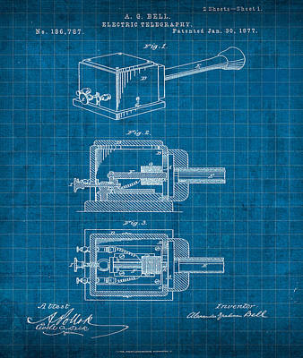 Alexander Graham Bell Electric Telegraphy Patent 1877 Art Print by Design Turnpike