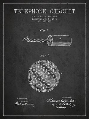 Alexander Graham Bell Telephone Circuit Patent From 1876 - Dark Art Print