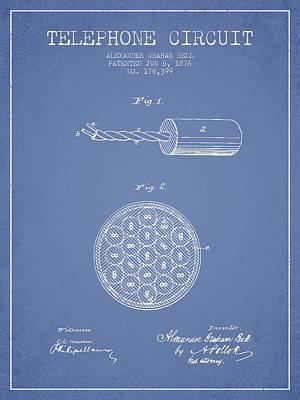 Alexander Graham Bell Telephone Circuit Patent From 1876 - Light Art Print