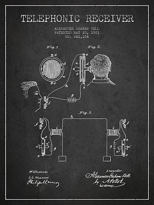 Alexander Graham Bell Telephonic Receiver Patent From 1881- Dark Art Print