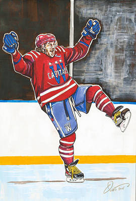 Nhl Hockey Drawing - Alexander Ovechkin 2015 Winter Classic by Dave Olsen