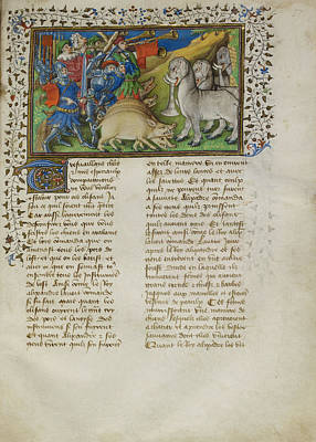 Alexander Repels Elephants Print by British Library