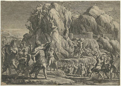 Petra Drawing - Alexander The Great Takes The City Of Petra by Cornelis Bloemaert (ii)