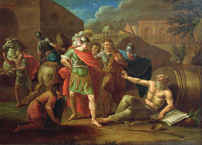 Philosopher Photograph - Alexander The Great Visits Diogenes At Corinth, 1787 Oil On Canvas by Ivan Philippovich Tupylev