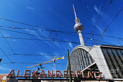 Popstar And Musician Paintings Royalty Free Images - Alexanderplatz sign and Television tower Berlin Germany Royalty-Free Image by Michal Bednarek