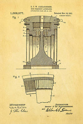 1911 Photograph - Alexanderson Altenator Patent Art 1911  by Ian Monk